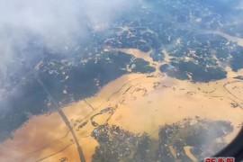从空中看被淹的长沙城(惊怵)!