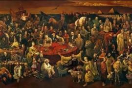 国外网上热传的一幅油画:103位世界名人,毛主席端坐正中!